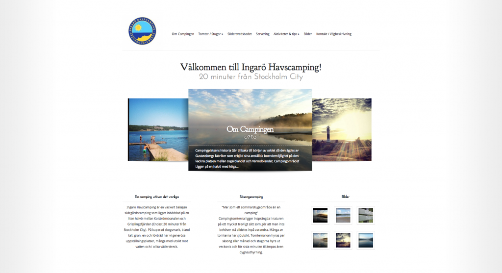 Ingarö Havscamping Startsida - NY - Gjord av IMSR Products & Services AB